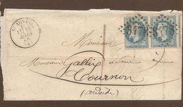 Paire 20c Bleu Empire Laurés,Timbres  Piquage Décentré Sur Lettre St Agréve 1869 -- Piquage à Cheval - Marcofilia (sobres)