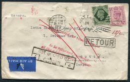 "1940 GB London - India Airmail Cover.Redirected ""Retour"" Censor, Bombay + Calcutta D.L.O. Ballygunge. ""Return To Sender"" - Storia Postale"