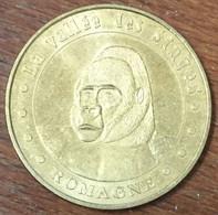 86 ROMAGNE VALLÉE DES SINGES GORILLE MÉDAILLE MONNAIE DE PARIS 2007 JETON TOURISTIQUE MEDALS COINS TOKENS - Monnaie De Paris