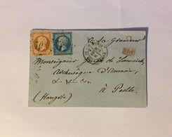 Lettre Affranchie à 60c En étoile De Paris N°10 Sur N°23 Et N°22 Pour La Hongrie - 1849-1876: Classic Period