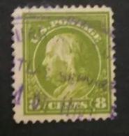VERINIGTE STAATEN ETATS USA 1912-14 FRANKLIN WASHINGTON GREEN OLIVE 8c  P.12 USED SC 414 YT 185 Type B MI 192 A SG 409 - Gebraucht