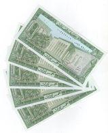 5 LP 1986 5 Consecutive Banknotes UNC Lebanon Currency , Paper Money, Billets Liban - Liban