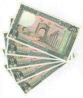 250 LP 1988 5 Consecutive Banknotes UNC Lebanon Currency , Paper Money, Billets Liban - Liban