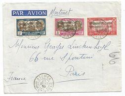 NOUVELLE CALEDONIE 5FR+3FR+90C SURCHARGE LETTRE AVION MARTINET NOUMEA 23 MARS 1939 POUR PARIS - Lettres & Documents