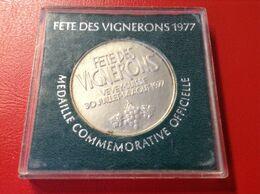Médaille Silber Commémorative De La Fête Des Vignerons 1977 Vevey Suisse Schweiz - Elongated Coins