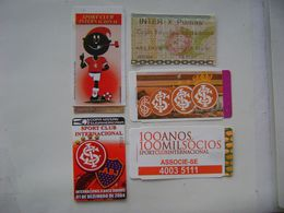 5 FOOTBALL / SOCCER TICKETS OF THE SPORT CLUB INTERNACIONAL - BRAZIL / BRASIL YEARS 2004 / 2008 IN THE STATE - Tickets D'entrée