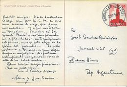 138298 BELGIUM BRUXELLES MARKET YEAR 1950 CIRCULATED TO ARGENTINA POSTAL STATIONERY POSTCARD - Stamped Stationery