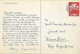 138301 IRELAND BAILE ATHA CLIATH VIEW LAKE YEAR 1950 CIRCULATED TO ARGENTINA POSTAL STATIONERY POSTCARD - Interi Postali