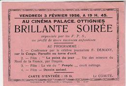 OTTIGNIES ,carte PUB Cinéma Palace 1956,VOIR VERSO PUB Bières Demolder à Court St Etienne Bière Bier Brasserie Brouwerij - Ottignies-Louvain-la-Neuve