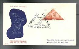 REF 60 - FDC RODIA - UNIVERSIADI DI TORINO - 29.8.1959 - FDC