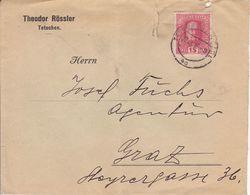TETSCHEN, DECIN,   ( CZECH ) -  BRIEF1916  --  THEODOR ROSSLER, TETSCHEN NACH GRAZ - Tchécoslovaquie