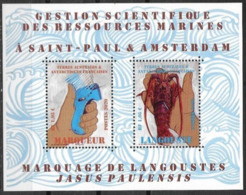TAAF , FRENCH ANTARCTIC, 2020, MNH, MARINE RESOURCES, CRUSTACEANS, LOBSTERS, S/SHEET - Crustaceans