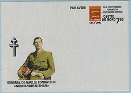 North Ossetia Post Card General De Gaulle. 60 Years Of Organization Of The Normandy-Niemen Air Regiment. Aviation 2002 - Fantasie Vignetten