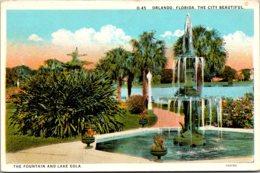 Florida Orlando Lake Eola And The Fountain Curteich - Orlando