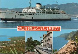 CT-03930- SALUTI DALLA CALABRIA  -  4 VEDUTE  TRAGHETTO REGGIO - Italy