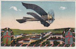 AK Darmstadt - Fliegerstation - Patriotika - Flugzeug - Feldpost Darmstadt Übungsplatz 1917 (51297) - Darmstadt