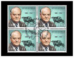 Switzerland 2013 -  125th Birthday Of Gottlieb Duttweiler Block Of 4 Cancelled First Day - Unused Stamps