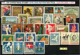 DENMARK-#CHRISTMAS#I1916-1946# 31 PCS#ANTI TUBERCULOSIS# OFC.REPRINT#MH*/**# (XJK-DK-260L-1 (07) - Probe- Und Nachdrucke