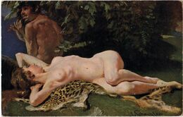 SCHMUTZLER: Faune Et Nymphe [ Nu Femme Nude CPA Allemande ] FM081 - Tableaux