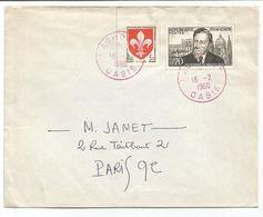 BLASON 5FR LILLE +20C NOLHAC LETTRE TAD ROUGE LAGHOUAT 16.2.1960 OASIS BUREAU EN ALGERIE - 1941-66 Coat Of Arms And Heraldry