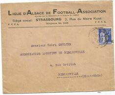 N°365 LETTRE ENTETE LIGUE ALSACE DE FOOTBALL SOCCER STRASBOURG 1938 - Football