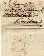 """""""65 ELNE"""" 18X12mm,marque Bleue,Port Payé Pour BARCELONE,L.A.C. Du 22/7/36. - 1801-1848: Précurseurs XIX"""