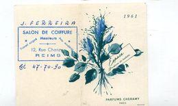 Calendrier Mini 1961  Reims Parfums Chéramy Format : 53*85 Mm  A    VOIR  !!! - Formato Piccolo : 1961-70