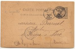 Meuse EP 10c Sage Cad Bar Le Duc, Boîte Rurale P = Longeville 1892 (2 Scans) - 1877-1920: Periodo Semi Moderno