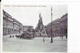 TORINO . PIAZZA DELLO STATUTO  COL MONUMENTO DEL FREJUS (attelage ) - Places & Squares