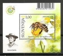 SLOVENIA 2018,FAUNA,BEE,WORLD BEE DAY,BLOCK,ANTON JANŠA,,MNH - Honeybees