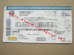 IRON MAIDEN  / A Matter Of Life And Death - Used Ticket Belgrade ( 2007 ) - Biglietti Per Concerti