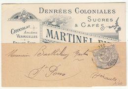 1c Blanc O. Castres Tarn / Carte Visite  Pub Martinel Fils Sucres Chocolet Café Huiles - 1877-1920: Période Semi Moderne