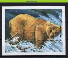 Nff277 FAUNA ZOOGDIEREN BEER VISSEN ZALM SALMON BEAR FISHING MAMMALS WILDLIFE ANGOLA 1999 PF/MNH - Bears