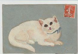 Chat- Peinture  Carte Fabriquée -(D.7887) - Gatos