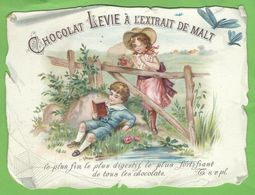 SUPERBE ET RARE CHROMO GAUFRE - Chocolat LEVIE - BINCHE - Dimensions 13 / 10 CM - Superbe état - Chocolate