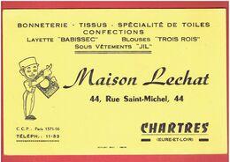 BUVARD MAISON LECHAT 44 RUE SAINT MICHEL A CHARTRES BONNETERIE TISSUS TOILE LAYETTE BLOUSE SOUS VETEMENT - Textile & Vestimentaire