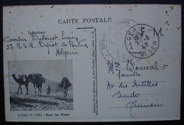 Alger 1943 Régiment De Zouaves Carte En Franchise Scènes Et Types: Dans Les Dunes, Pour Bardo Tunisie - Marcophilie (Lettres)