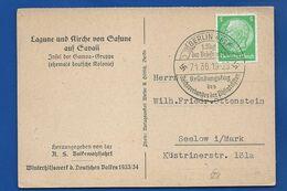 Carte Affranchi à 5 Deutch-Reich      Oblitération:  BERLIN 7/1/1936 - Cartas