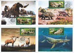 2872-2875 Mih 2655-2658 Russia 06 2020 NO EXTRA FEES Maximum Card 3 Prehistoric Fauna Dinosaurs Mammoths Paleontological - 1992-.... Federación