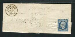 Belle Lettre De Pradelles ( Haute Loire 1855 ) Avec Un N° 14A - Cachet PC 2567 - 1849-1876: Periodo Clásico
