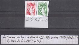 France 40e Anniversaire Sabine De Gandon (2017) Y/T Paire N°5179 + 5180 Neufs ** (issus Du Feuillet F5179) - France