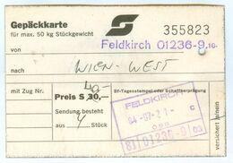 ÖBB-Gepäckkarte Feldkirch - Wien Westbahnhof 21.7.1984 Österreich Austria Bundesbahnen Luggage West - Chemins De Fer