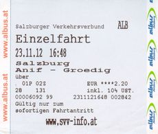 Fahrkarte Fahrschein Autobus Anif - Grödig 23. 11. 2012 Salzburg SVV Albus Flachgau Österreich Regionalbus - Bus