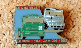 Pin's CAMION Mercedes & Renault Grand Prix 1992 Le Castelet - 2 Attaches 40x30mm - Peint Cloisonné- Fabricant LOCOMOBILE - Pin's