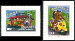 POLYNESIE 2008 - Yv. 835 Et 836 ** TB   - Autoadhésifs Famille Sur Scooter Et Autobus (2 Val.)  ..Réf.POL25297 - Ongebruikt