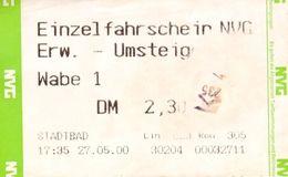 Fahrkarte Fahrschein NVG Neunkirchen Stadtbad 27. 5. 2000 Saarland SaarVV Autobus Deutschland Germany Autobus - Bus
