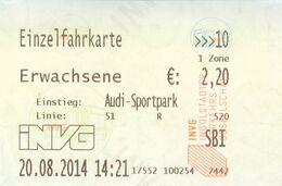 Fahrkarte Fahrschein Ingolstadt Audi Sportpark Linie 51 INVG 2014 Bayern Autobus - Bus