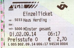 Fahrkarte Fahrschein Haus Herding Münster-Hiltrup 2014 Verkehrsgemeinschaft Münsterland VGM 5033 5000 Deutschland - Bus
