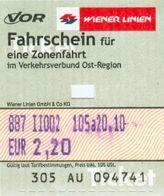 Fahrkarte Fahrschein Wiener Linien VOR Zonenfahrt Wien Straßenbahn U-Bahn Metro Autobus Österreich Austria - Bus