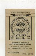 C.G.T........carte Confederale  1962     Syndicat Unique Aviation Etat  Toulouse - Syndicats